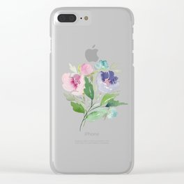 Purple and Pink Peonies Clear iPhone Case