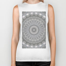 Mandala in white, grey and silver tones Biker Tank