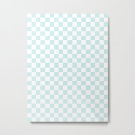 Small Checkered - White and Light Cyan Metal Print