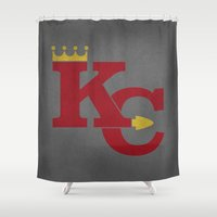 kansas city Shower Curtains featuring Kansas City Sports Red by Haley Jo Phoenix