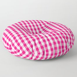 Hot Neon Pink and White Gingham Check Floor Pillow