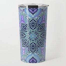 Navy Blue, Mint and Purple Boho Pattern  Travel Mug
