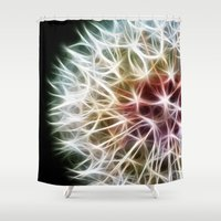 dandelion Shower Curtains featuring Fractal dandelion by Mark Nelson
