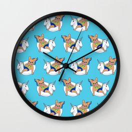 Frenchie enjoys summer on unicorn pool float in swimming pool Wall Clock