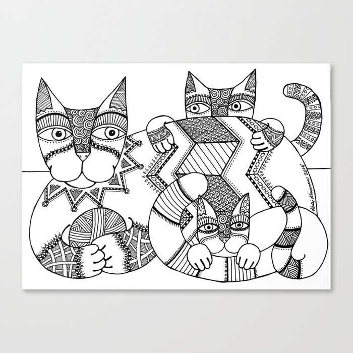 Cat Zen 2 Canvas Print By Katiekinsman