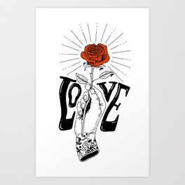 Hand with Rose Art Print