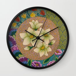 Jasmine Flower  Mandala  Wall Clock