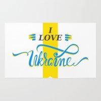 ukraine Area & Throw Rugs featuring I love Ukraine by Broncos