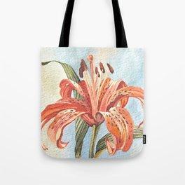 Orange Tiger Lily Watercolor Painting Tote Bag