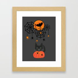 Happy Halloween Pumpkin Moon Framed Art Print