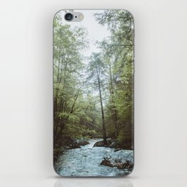Peaceful Forest, Green Trees and Creek, Relaxing Water Sounds iPhone Skin