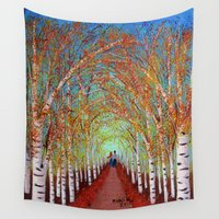 birch Wall Tapestries featuring Autumn Birch  by maggs326