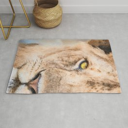 Lion watercolor painting #3 Rug