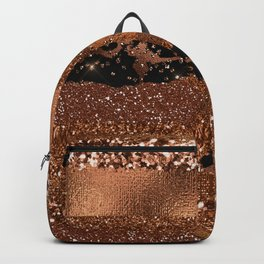 Girly Copper Coffee Glamour Glitter Metal Stripes   Backpack