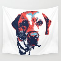 patriotic Wall Tapestries featuring Patriotic Labrador  by Rachel Barrett