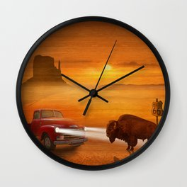Meeting in the sunset on Route 66 Wall Clock