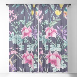 Chinoiserie french navy floral Sheer Curtain
