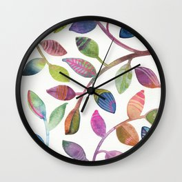 Colorful Leaves Watercolor Wall Clock