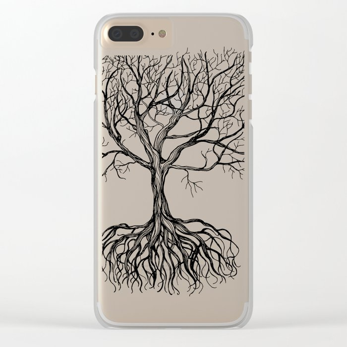 Bare tree with root Clear iPhone Case