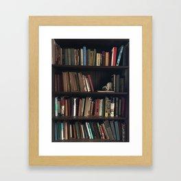 The Bookshelf in the Library, portrait, vibrant Framed Art Print