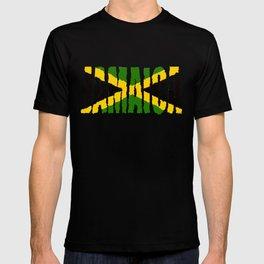 Jamaica Font with Jamaican Flag T-shirt