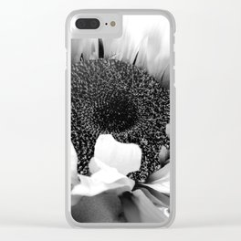 Black & White Sunflower Modern Cottage Chic Modern Farmhouse Art A486 Clear iPhone Case