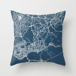 Shenzhen Blueprint Street Map, Shenzhen Colour Map Prints Throw Pillow