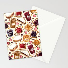 Peanut Butter and Jelly Watercolor Stationery Cards