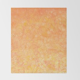 Yellow and orange swirls doodles Throw Blanket