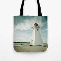 lighthouse Tote Bags featuring lighthouse. by kimberlie ann photography