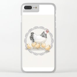 Mother Hen and Her Chicks in Crochet Wreath Clear iPhone Case