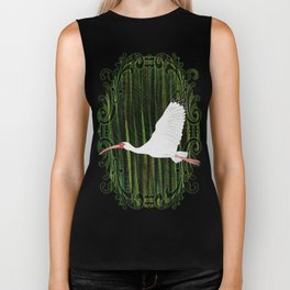 American White Ibis In Flight Biker Tank