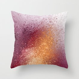 Amber and Maroon Paint Splatter Throw Pillow