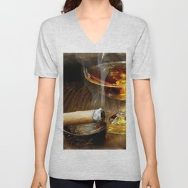 Cigar And Cordial Painting Foodie Cigar Lover Smoking Smoker Unisex V-Neck