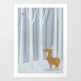 Origami deer in the Woods Art Print