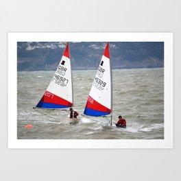 Topper Dinghies racing at sea Art Print