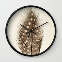 feather Wall Clocks featuring Feather by Mina Teslaru