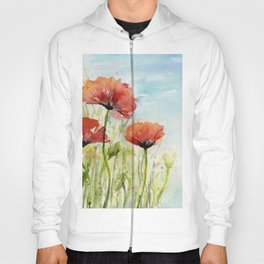 Red Flowers Watercolor Landscape Poppies Poppy Field Hoody