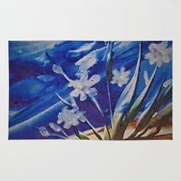 White desert flowers with a blue sky Rug