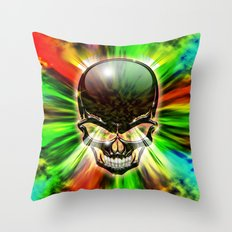 Crystal Skull on Psychedelic Flames Throw Pillow