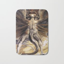 The Great Red Dragon and the Woman Clothed in Sun William Blake Bath Mat