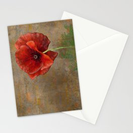 Poppy Resistance - Flowers... make everything nicer! Hand-drawn illustration, grunge texture Stationery Cards