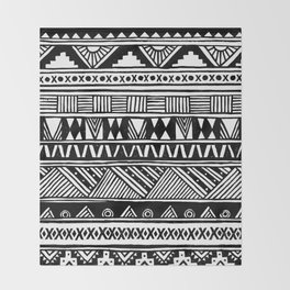 Black White Cute Girly Urban Tribal Aztec Andes Abstract Geometric Hand-drawn Pattern Throw Blanket