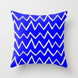 Hand-Drawn Zig Zag (White & Blue Pattern) Throw Pillow