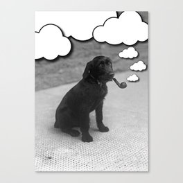 Pipe Puffing Dog Canvas Print