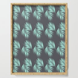 Palm Leaves Pattern #8 #Mint #CoolGray #decor #art #society6 Serving Tray