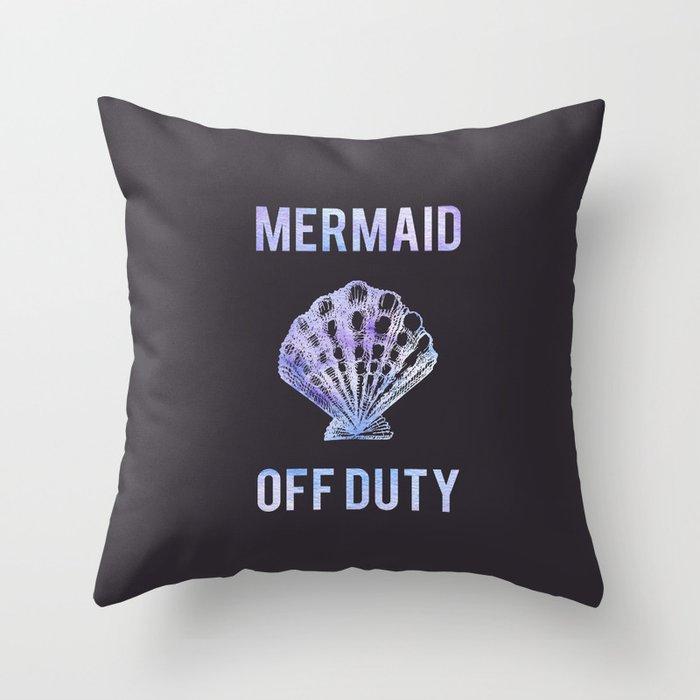 Mermaid Off Duty - Purple Seashell Throw Pillow