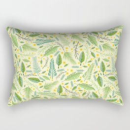 Tropical yellow green abstract leaves floral pattern Rectangular Pillow