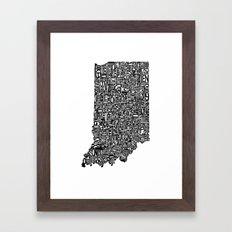 Typographic Indiana Framed Art Print
