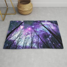 Black Trees Lavender Pink Blue Space Rug